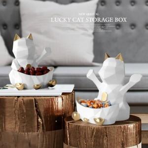 Estatua En Resina Para Decoración de Boda Caja de Almacenamiento de Pared Para Dulces Tuerca Geométrica Lucky Cat Figurine Decorativo Hogar Decoración de Pared