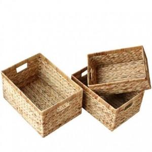 Cesta de almacenamiento cesta de almacenamiento de ratán caja de almacenamiento cesta de almacenamiento de paja sin caja de tapa