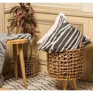 Cesta de almacenamiento de mimbre de paja hecha a mano algas marinas estilo nórdico florero cesta moderna decoración del hogar