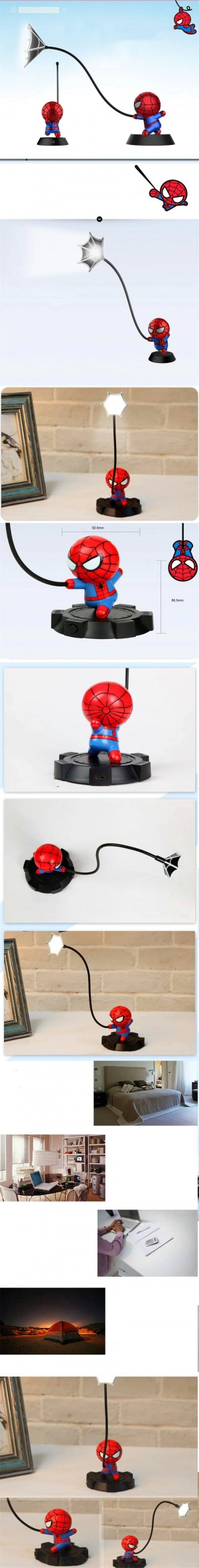 Super Spiderman Avengers Union 3 Led Night Light Light Resin Craft Kids Home Desktop Lámpara de mesa Figurines Cumpleaños Navidad regalos de boda