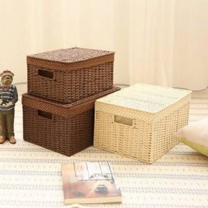 Surabilus tejido de paja almacenamiento pequeño dormitorio escritorio caja de almacenamiento caja de acabado caja de almacenamiento caja de libro cubierta