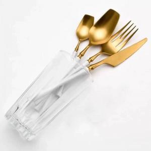 Juego de vajilla Juego de cubiertos de acero inoxidable Vajilla de comida occidental Juego de cubiertos de tenedor de lujo Cuchara Cuchillo Envío directo