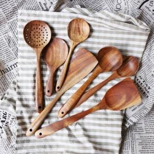 Tailandia teca Madera Natural Artesanía Vajilla Cuchara Cuchara Larga Sopa de Arroz Espumadora Cucharas de Cocina Cuchara de Cocina Hecha A Mano Set de Herramientas de Cocina