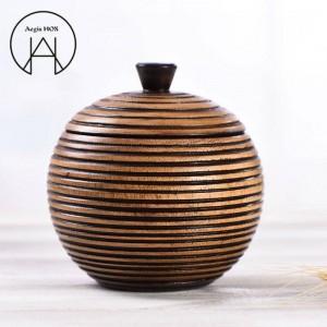 Tailandia decoración de madera vintage latas de almacenamiento de alimentos creativos té caddy mano tallada textura caja de almacenamiento de latas de caramelo