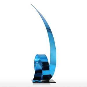 The Blue Rising Ribbon Escultura metálica Hierro Escultura moderna Figuras abstractas Artesanía Estatuas para decoración Ornamento