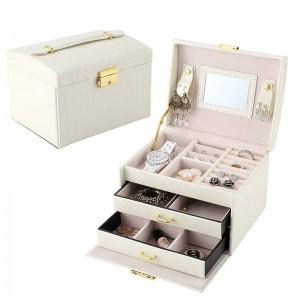Caja de joyería de cuero clásica de alta calidad de tres capas 2019 Caja de maquillaje exquisita Joyería Organizador de joyería Caja de regalo de moda