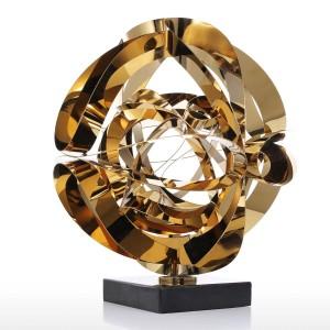 Sueño Flor Escultura Metal Moderno Estatuilla Abstracta Regalo del arte del acero inoxidable para la oficina Accesorios de decoración del hogar