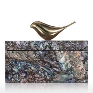 Caja de joyería con cobre Bird Trinket anillo de la decoración del anillo Caja de almacenamiento Regalos de cumpleaños para mujeres terciopelo negro