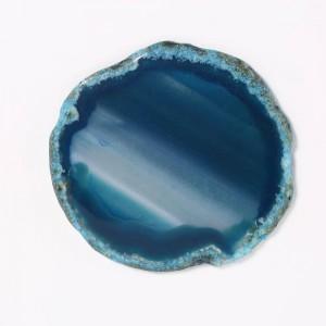 Joyero rectangular (ágata azul) Anillo de decoración de ágata de madera Collar Caja de almacenamiento Regalos de cumpleaños Terciopelo negro