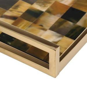 Bandeja rectangular con cuerno Rayas (tamaño pequeño) Piano de madera Barniz para hornear Tecnología Bandeja de té Bandeja de frutas Bandeja de café
