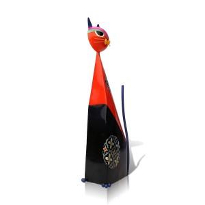 Red Fortune Cat Figurita en forma de metal Figurita en miniatura Muebles Pastoral Arte Artesanía Regalo Decoración del hogar Accesorios