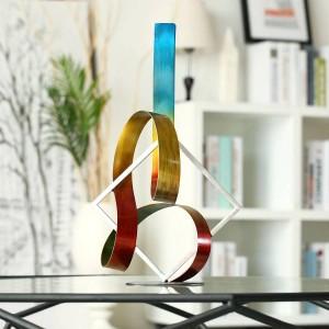 Cuadrado y cinta Escultura abstracta moderna accesorios de decoración del hogar estatuilla moderna Regalo de Año Nuevo Regalo de Navidad