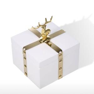 TOOARTS Caja de almacenamiento de caja de joyería cuadrada Caja de almacenamiento de collar de anillo blanco de madera Regalos de cumpleaños para mujeres Caja de regalo de terciopelo negro