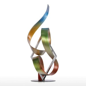 Estatua Plaza y cinta Escultura moderna Escultura abstracta Escultura de metal Accesorios de decoración del hogar interior-exterior
