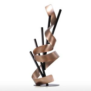 Línea recta y cinta Metal Moderno Escultura abstracta Decoración para el hogar Regalo de año nuevo Accesorios para el hogar Estatuilla