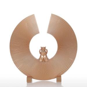 Fortune Cat Escultura de resina Arte moderno Decoración para el hogar Estatua Ornamento de estatuilla para la oficina en casa