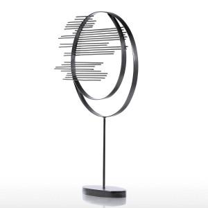 Hoja de arce Adorno Escultura de hierro Escultura moderna abstracta Círculo de hierro Decoración para el hogar Obra moderna y concisa