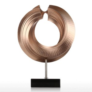 Figuras de fibra de vidrio Estatuilla de giro Decoración para el hogar Diseño original Círculo Regalo elegante del arte para Home Garden