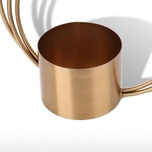 Tooast Flower Pot Adorno de metal Forma de cilindro Mango Florero Ornamento de moda Centro de mesa para el hogar Mesa de boda Decorativo