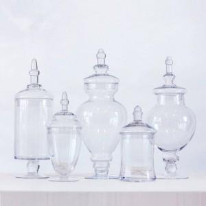 Caramelo transparente frasco fiesta Postre Botella de almacenamiento Mesa de comedor Cubierta decorativa de rayas altas Tanque de almacenamiento Frascos y tapas de vidrio