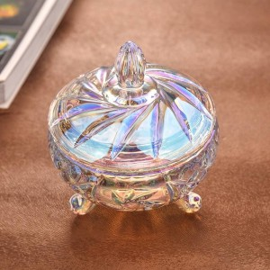 Tarro de caramelo de cristal de colores transparentes almacenamiento de tarros de caramelo de boda latas de frutas secas almacenamiento de joyas utensilios decorativos
