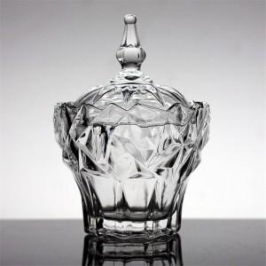 Caja de joyería de cristal transparente azucarero Alta calidad tarro de dulces latas de almacenamiento tanque de tanques de cristal Bowls merienda recipiente contenedor