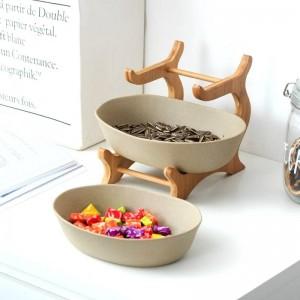 Dos niveles Tazón de cerámica esmerilado Plato decorativo de cerámica Plato de vajilla de bambú para fruta, ensalada y refrigerio