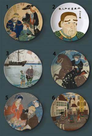 Ukiyo-e Pintura Placas Decorativas Estilo Japonés Cerámica Hogar Artístico Plato de la Barra de Hotel Exhibición de Fondo Placas de Pintura Al Óleo