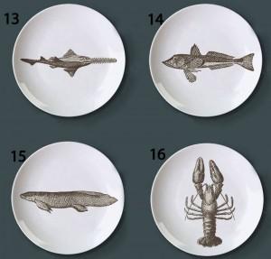 Tema mundial submarino Platos de pescado Retro Creativo Snack Dish Bar Hotel Placas decorativas para el hogar Pintado a mano Patrón Placas de bricolaje