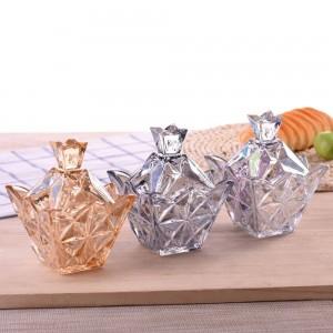 Variedad de diamantes de colores de vidrio Tarro de caramelo Redondo con tapa de almacenamiento caja de dulces creativo transparente latas de azúcar cubo de almacenamiento
