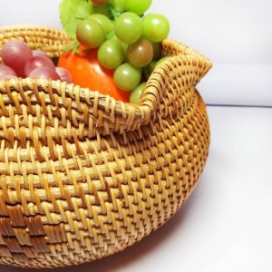 Vietnam ratán caja de punto de té cesta de fruta hecha a mano plato de fruta seca cesta de merienda cesta de almacenamiento en el hogar almacenamiento de escritorio creativo b
