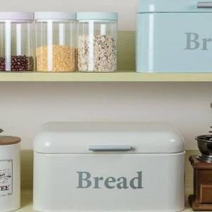 Caja de pan vintage Armario Caja de aperitivos de hierro Acabado de escritorio Caja de almacenamiento a prueba de polvo Almacenamiento Bin Keeper Alimentos Cocina Estante Decoración