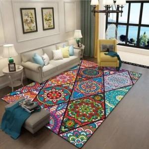 Alfombra de estilo étnico vintage sala de estar alfombra de dormitorio alfombra de estudio de arte bohemio se puede lavar a máquina