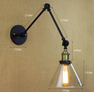 Apliques de pared de vidrio vintage, lámpara de pared led ajustable de doble brazo interior que se enciende para el comedor de la sala de estar dormitorio lámpara de luz