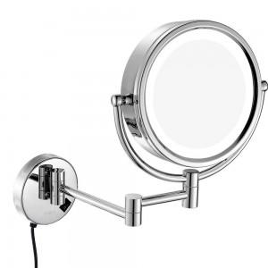 Espejo de maquillaje giratorio con luz LED montado en la pared con aumento de 10X / 7X / 5X, espejos de aumento de doble cara / normales, enchufar