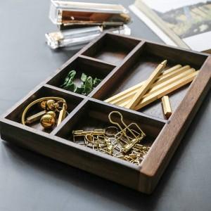 Bandeja de almacenamiento de madera de partición de nuez Nordic Modern Scandinavia Tool Food Jewelry Sundries Desktop Storage Box Home Organizer