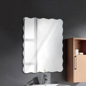 Espejo de baño ondulado sin marco, colgante de baño, espejo impermeable, dormitorio, sala de estar, porche, espejo de maquillaje wx8231141