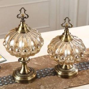 Decoración de la boda Adornos suaves de lujo Tanque de almacenamiento Cocina Estilo europeo Salón Mesa de té con tapa de tarro de dulces