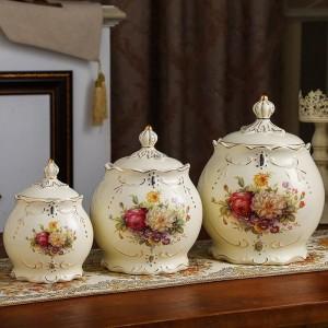 decoración de la boda Olla sellada cerámica tanque de almacenamiento de granos diversos granos latas de té encurtidos tarros cocinas latas de dulces