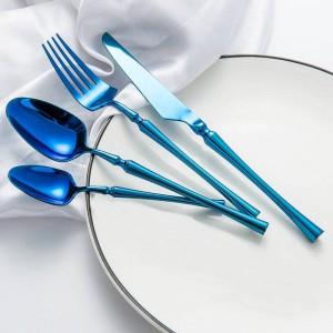 Vajilla occidental Juego de vajilla de lujo Cuchillos Tenedores Cucharas Cucharitas de té Juego de cena clásica Herramientas para el banquete de boda