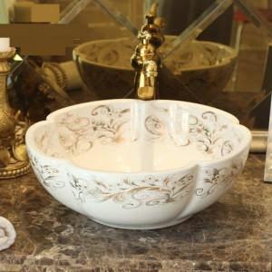 Lavabo de lavabo hecho a mano con forma de flor blanca Lavabo de arte Lavabo de encimera de cerámica Lavabo de baño Lavabo sobre encimera