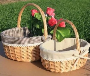 Cesta de mimbre de mimbre cesta de frutas cesta de picnic cesta de regalo de compras de flores y huevos