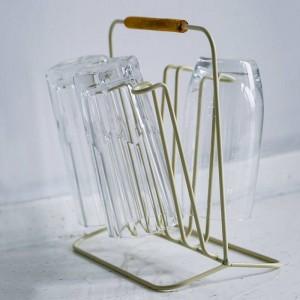 Manija de madera Estante de almacenamiento de metal de doble cara Simple Nordic Bottle Mug Drain Storage Rack Decoración para el hogar Organizador para la cocina