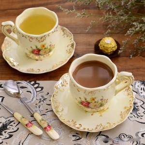 Juego de tazas y platillos de café de cerámica Tazas de té negro Tazas de té de pareja de porcelana marfil con soporte Cafetera Regalo de Navidad