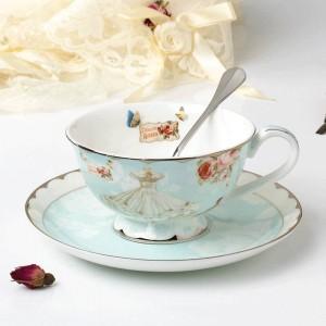 Taza de té de cerámica y juego de platillos Taza de café de hueso de diseñador Tarde de porcelana por la tarde Juego de tazas de té negro Juego de café