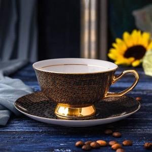 Tazas de café de porcelana de alta calidad Tazas y platillos de cerámica vintage Set Taza de té Drinkware para café