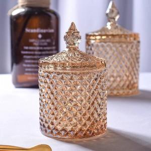Tarro de cristal rómbico amarillo, cubo de café, tazón de azúcar, cilindro, hisopo de algodón, caja, tetera, hogar, almacenamiento de joyas, latas naments