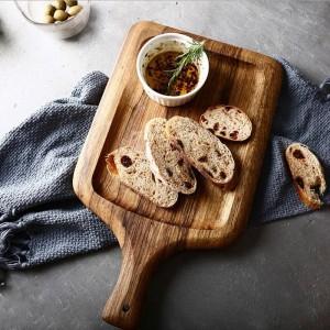 Bandeja de almacenamiento de madera de cebra con mango de diamante Textura natural nórdica Pan sin pintar Snack Storage Plate Organizer Decoración para el hogar